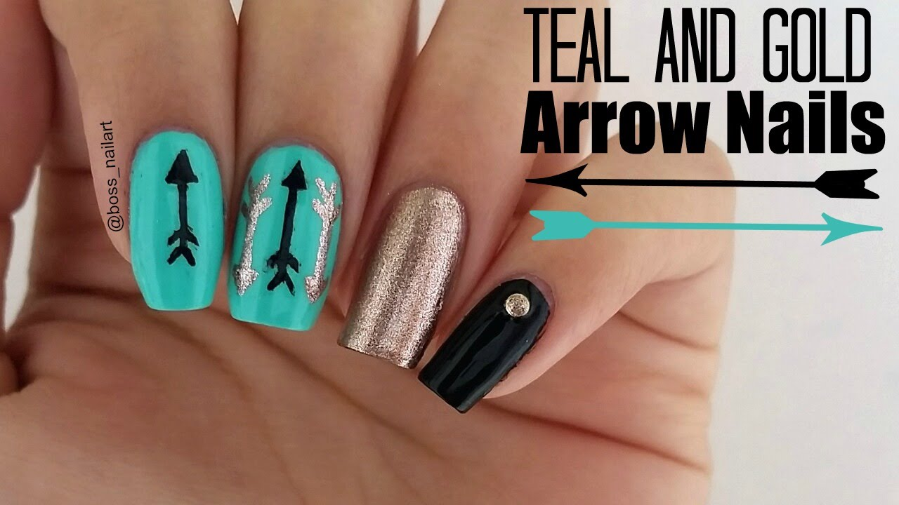 CUTE TEAL ARROW NAILS Easy