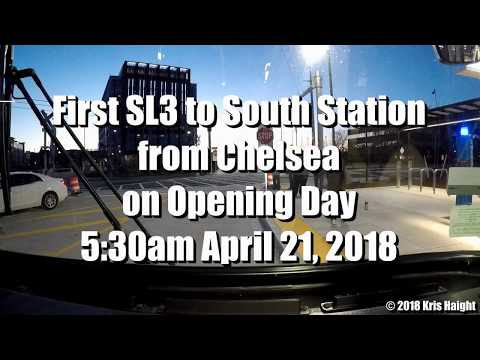 First MBTA SL3 Bus from Chelsea to South Station - Opening Day 4/21/16