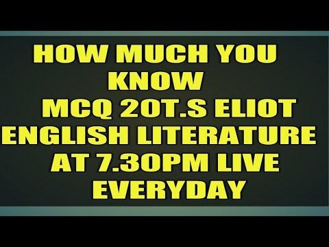 Ugc net- MCQ -T.S.ELIOT -CHECK YOUR PROGRESS - 동영상