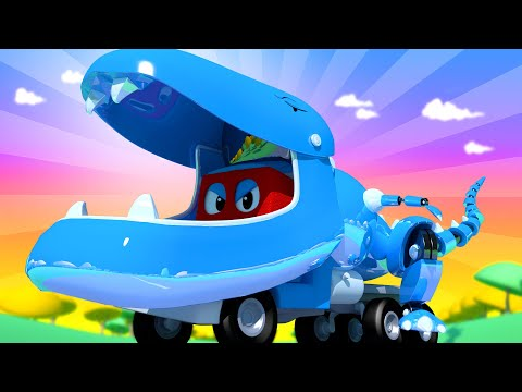 Carl de Super Vrachtwagen ⍟  Speciale Jurassic aflevering - Robot T-rex Truck