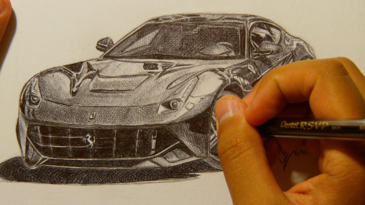 Ferrari F12 Berlinetta Drawing with Ballpoint Pen