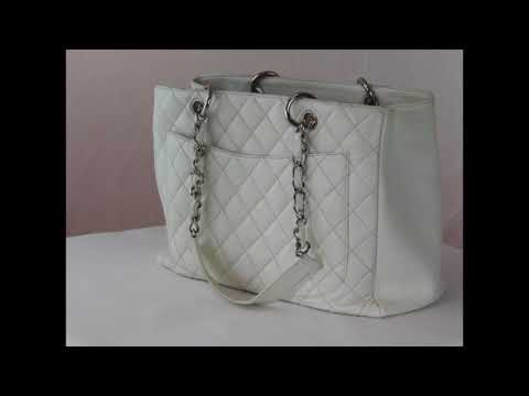 Chanel White Quilted GST Caviar Tote Bag