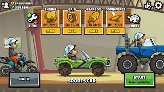 Hill Climb Racing 2 Sports Car Maxed Engine Grip Gearbox Downforce