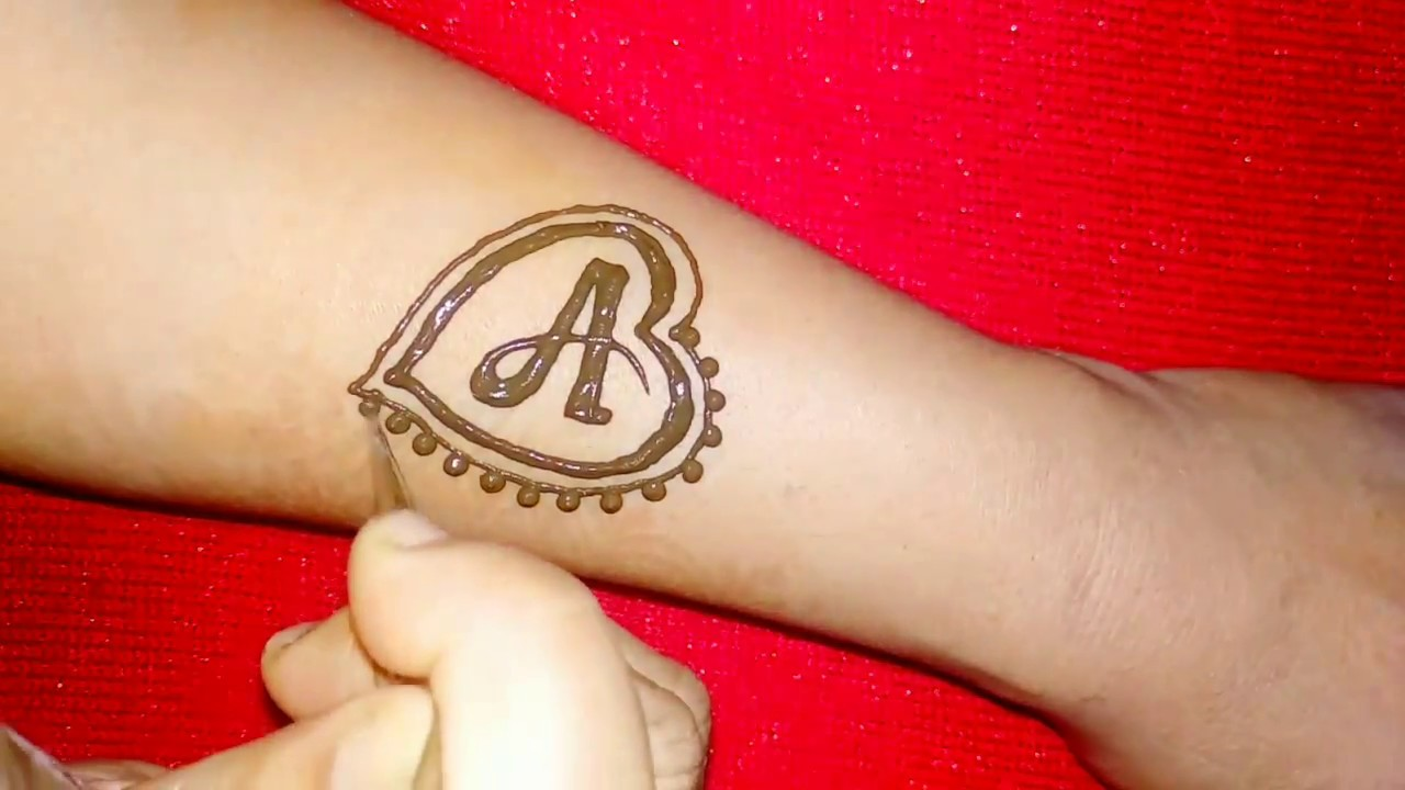 Why Does My Henna Tattoo Look Black: 'A' Letter Henna Tattoo Design With Heart Shape