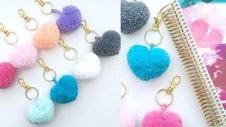 How to make heart shape pompom | #woolen handmade gift / home decoration ideas