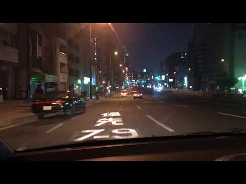 Driving in Downtown Osaka at Night