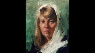 """White scarf"", small portrait oil painting demo by Zimou Tan"