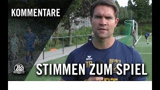 Die Stimmen zum Spiel   FC Blau-Gelb Überruhr - DJK Adler Union (4. Spieltag, Bezirksliga 3)
