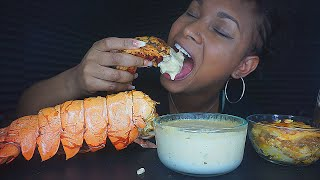 SEAFOOD BOIL MUKBANG - GIANT LOBSTER TAIL WITH CREAMY ALFREDO SAUCE!