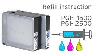 How to refill Canon PGI-1500, PGI-2500 Canon Maxify printers