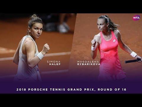 Simona Halep vs. Magdalena Rybarikova | 2018 Porsche Tennis Grand Prix Second Round | WTA Highlights