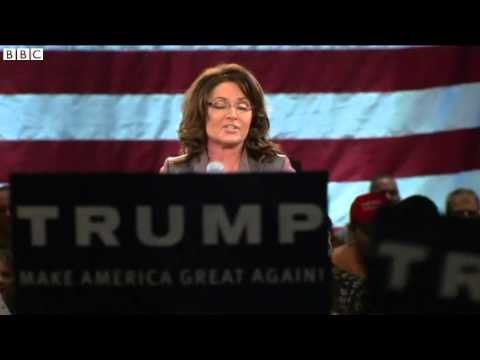 Sarah Palin makes surprise Trump rally appearance   BBC News