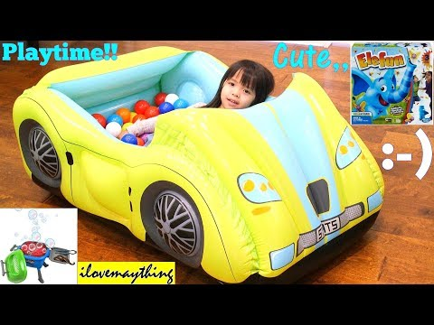 Toddlers' TOY CHANNEL: A Yellow Car Ball Pit, Bubble Machine, Bouncer Playhouse and More! Playtime!