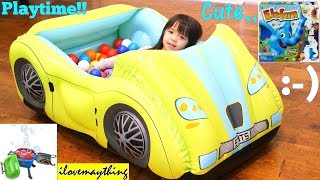 Toddlers' TOY CHANNEL: A Yellow Car Ball Pit, Bubble Machine, Bouncer Playhouse and More! Playt