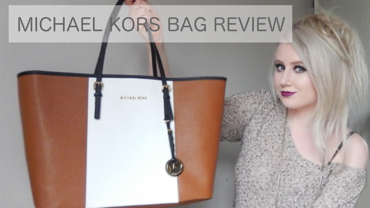 0f7740cca5ce REVIEW // Michael Kors Jet Set Tan Stripe Travel Tote Bag - YouTube