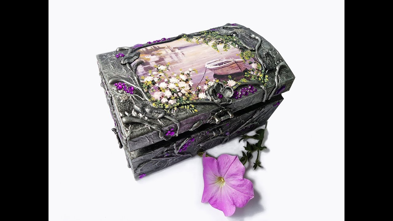 Hand decorated jewelry boxes with decoupage and one stroke painting