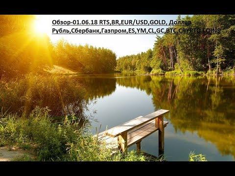 Обзор-01.06.18 RTS,BR,EUR/USD,GOLD, Доллар Рубль,Сбербанк,Газпром,ES,YM,CL,GC,BTC,CRYPTO COINS