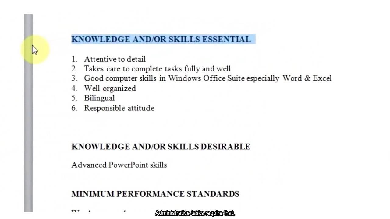 job description template samples