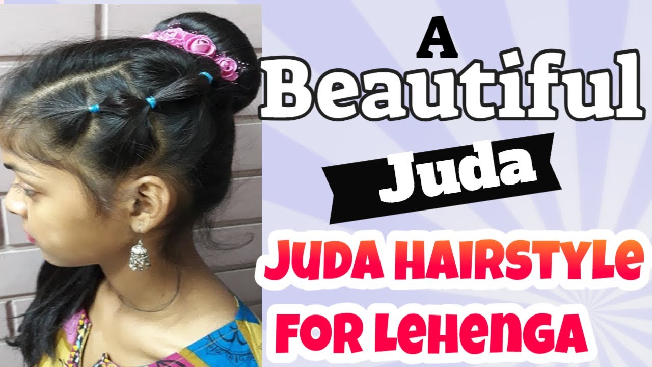 A Beautiful Juda hairstyle for Lehenga. Party hairstyle.Hairstyle with donut. Easy hairstyles ...