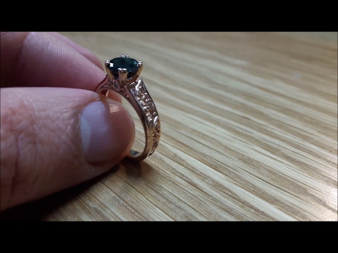 Black Diamond Engagement Ring Rose Gold Ring