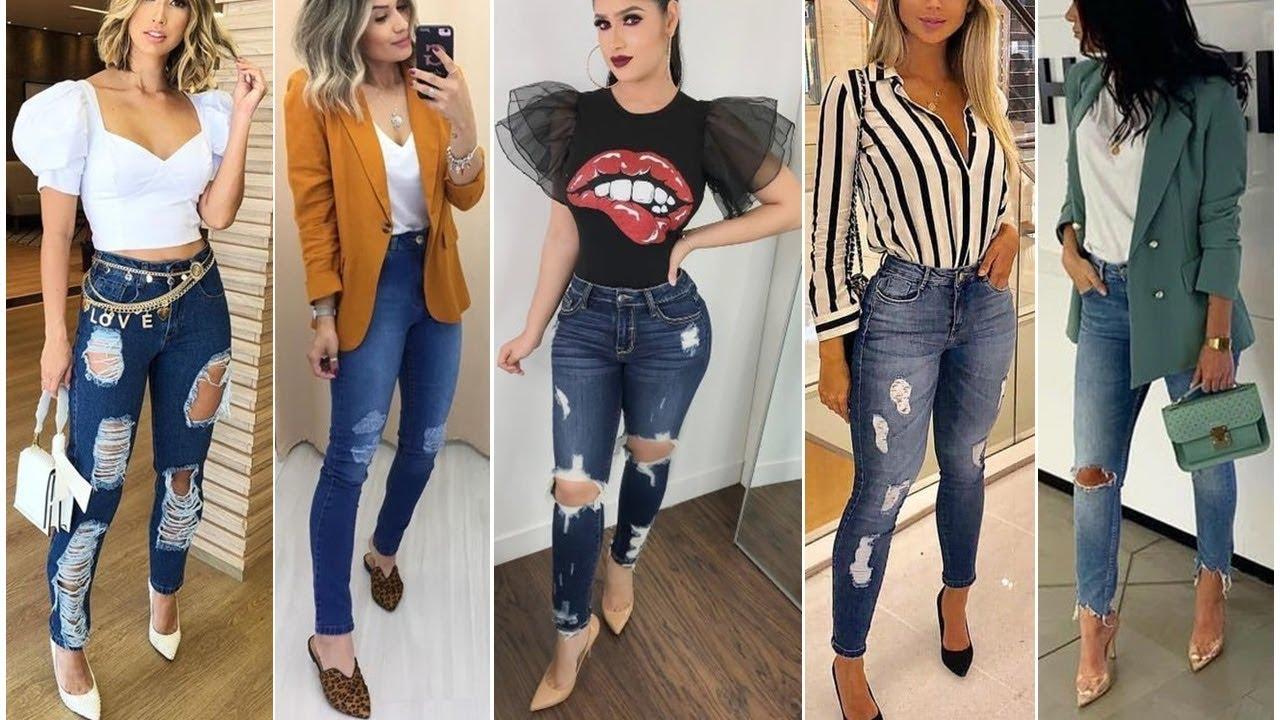 Looks Modernos Con Pantalones Jeans Rotos Para Toda Ocasion 2020 Youtube