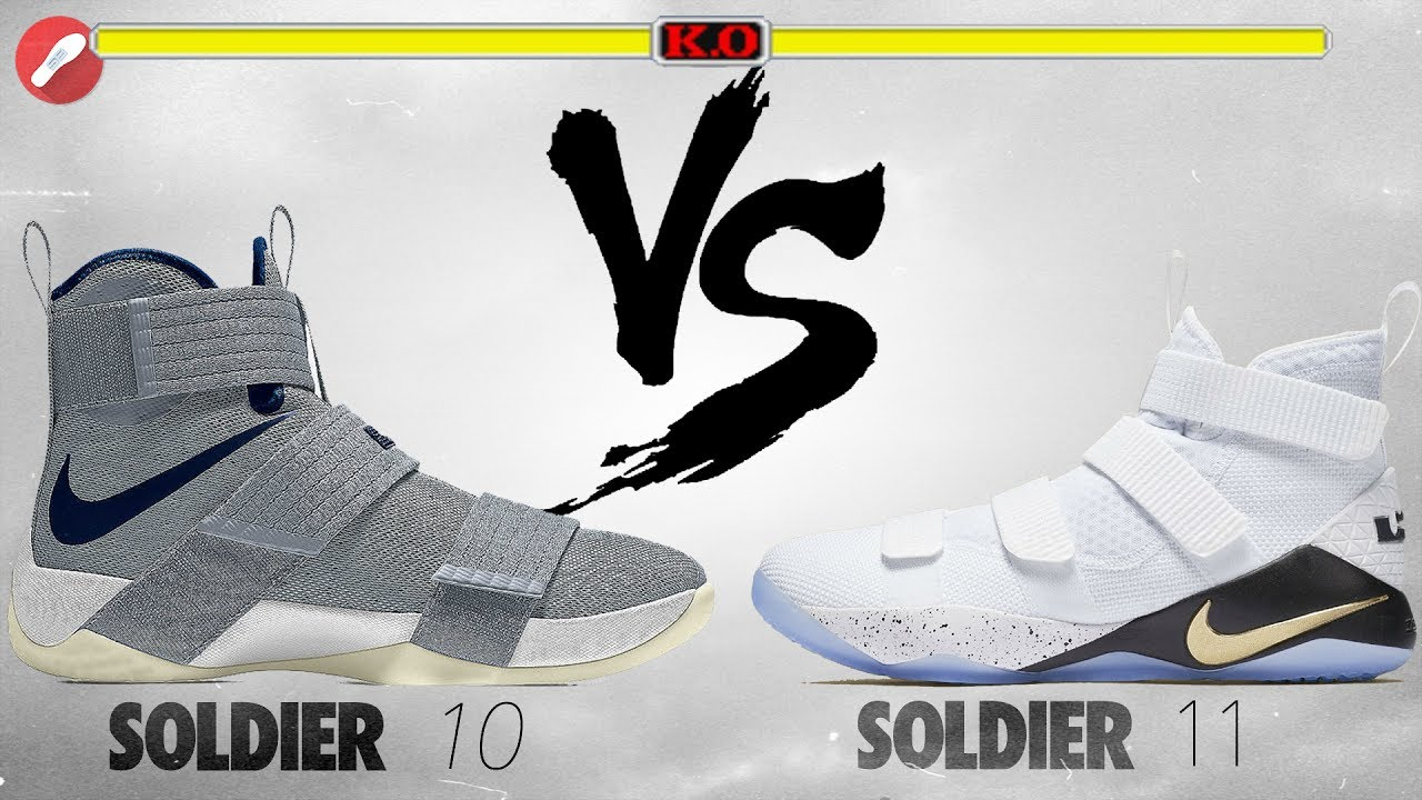 dfb03c70093 Nike Lebron Soldier 10 vs Lebron Soldier 11! - YouTube