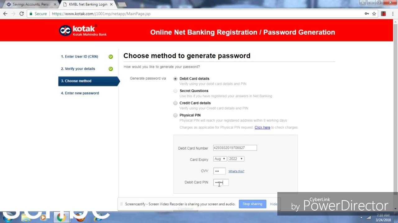 Kotak Mahindra Bank क Internet Banking क स Activate Password Reset और Unblock कर Youtube