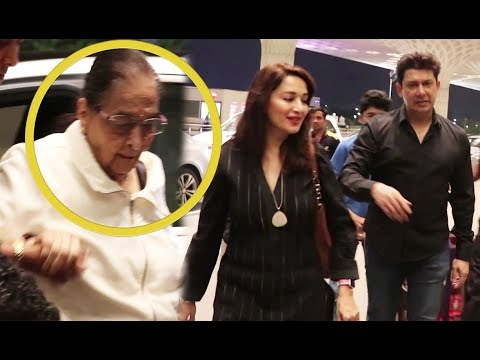 Madhuri Dixit With Her Mother In Law Spotted At Airport