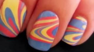 Nail Art цветные разводы идеальный маникюр