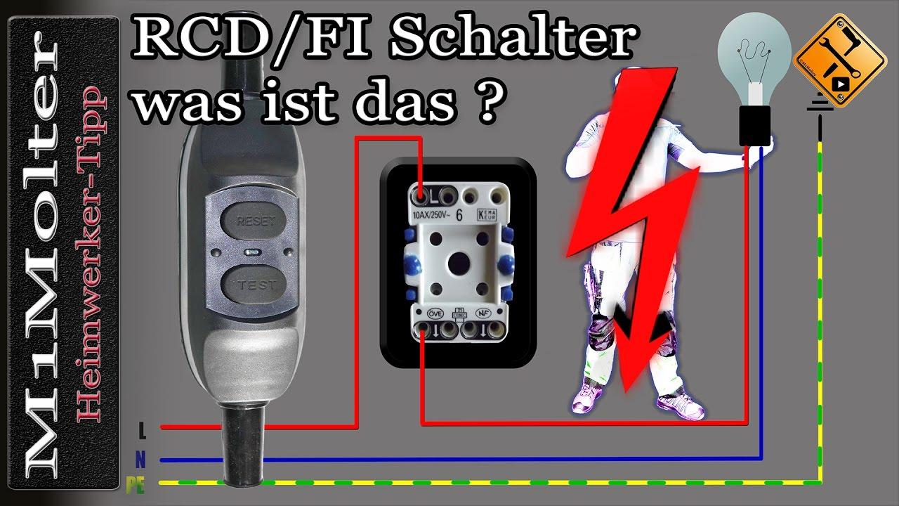 RCD / FI Schalter. Was ist das? Kurz erklärt von M1Molter... (Fi ...