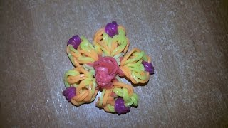 Плетение резинками цветочка (незабудка)Weaving elastic bands flowers (forget-me)
