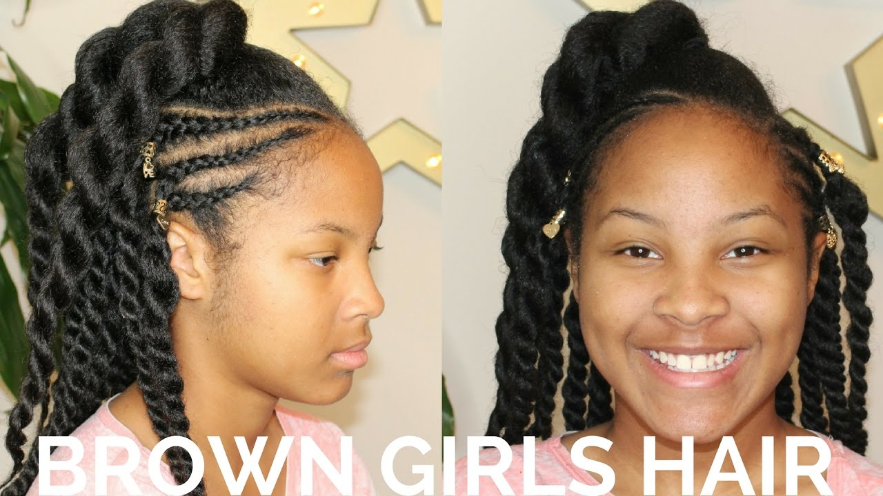 Twists & Cornrows Hairstyle | Natural Hair Kids - YouTube