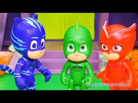 PJ Masks Romeo Goes Trick Or Treating and doesn't get Candy from The Incredibles and Puppy Dog Pals