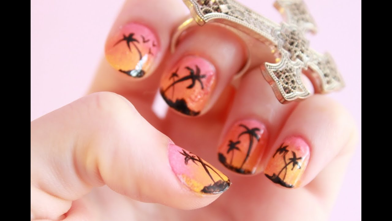 NAIL ART Dégradé Coucher de soleil Miami Beach / Sunset Miami Beach ...