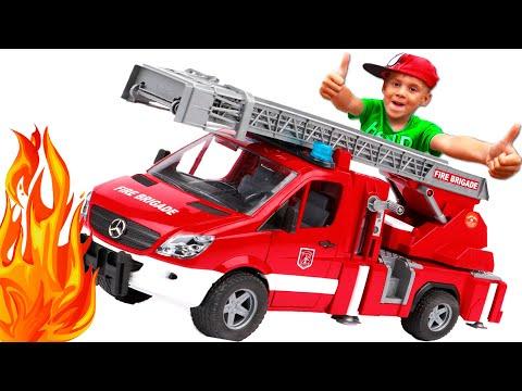 Пожарная машина BRUDER едет на помощь грузовикам и тушит пожар Машинки для детей