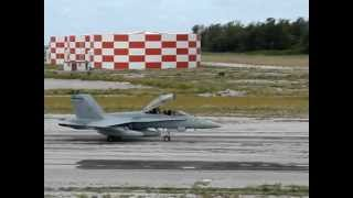 USMC FA 18 taxiing Midway Atoll NWR Henderson Field Aug 2 2012 J Klavitter USFWS