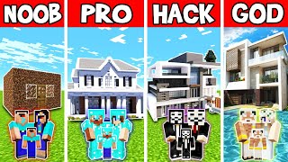 Minecraft: FAMILY MODERN HOUSE BUILD CHALLENGE - NOOB vs PRO vs HACKER vs GOD in Minecraft