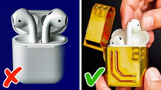 DIY GOLDEN CASE FOR AIRPODS || 5 COOL METAL CRAFTS