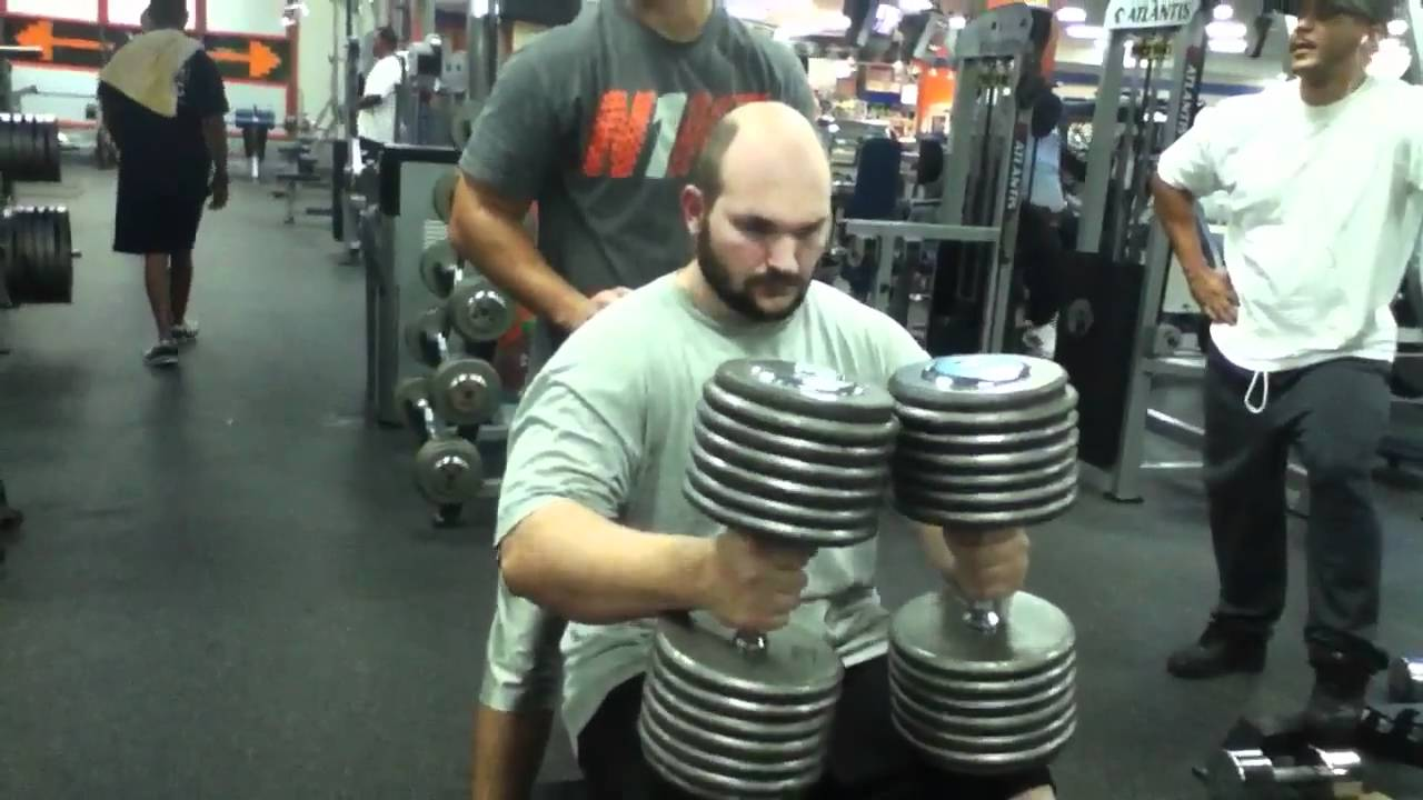 140 Lb Dumbbells Seated Shoulder Press Youtube