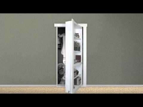Murphy door flush mount bookcase door doovi for Murphy garage doors