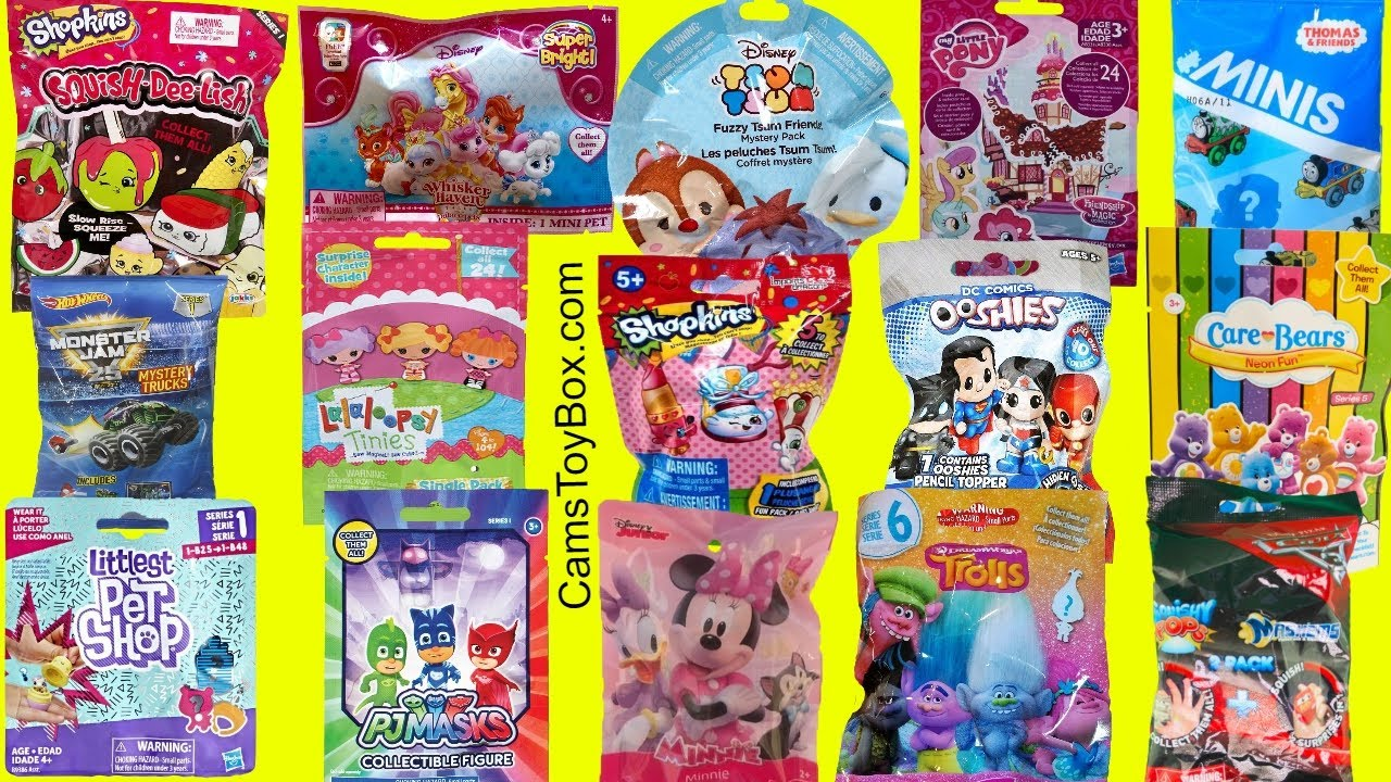 Squish Delish Full Box : Blind Bags Opening Toys Shopkins Squish DeLish Lalaloopsy LPS Minnie Mouse TROLLS PJ MASKS Cars ...