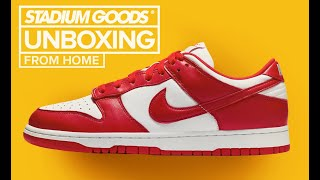 """Nike Dunk Low """"University Red / St. Johns"""" UNBOXING"""