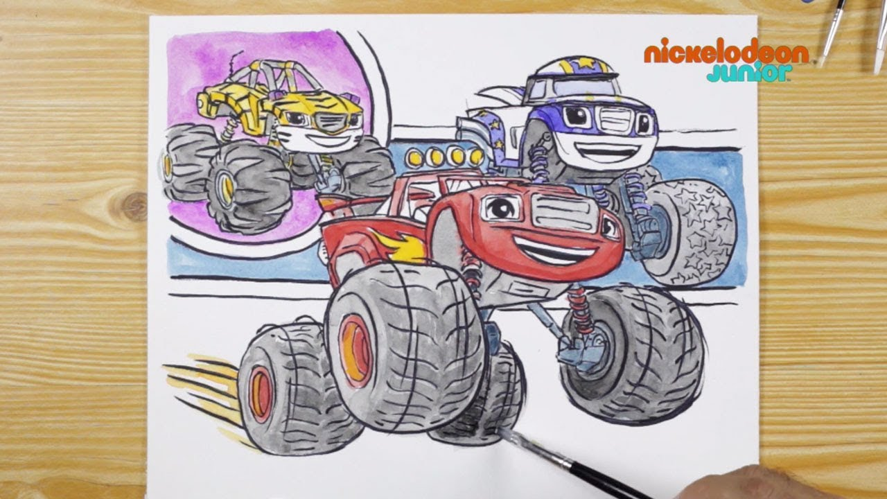 1 2 3 Coloriage Blaze Et Ses Amis Nickelodeon Junior