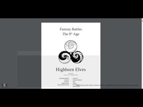 Highborn Elves 1.3 Armybook Review Part 1