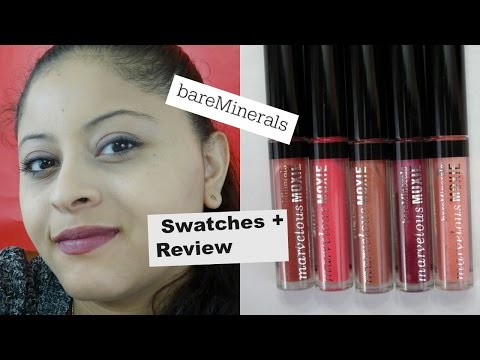 BAREMINERALS MARVELOUS MOXIE LIP GLOSS SWATCHES + REVIEW