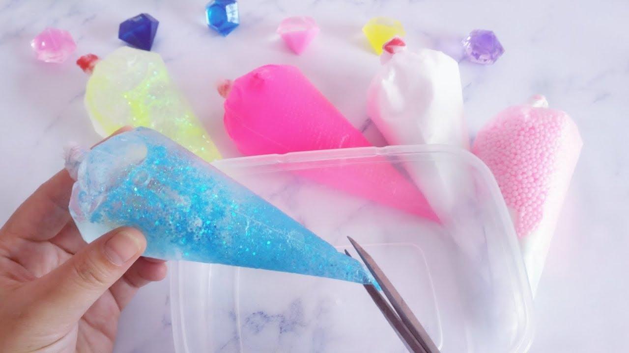 教你用裱花袋自制好玩的減壓泥。無硼砂。剪開的瞬間心情都變好了 - YouTube