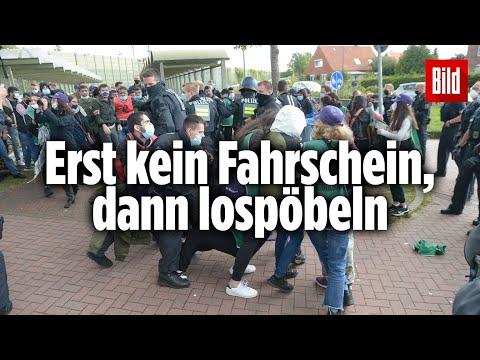 80 Randalierer gehen auf Polizisten los   Hamburg