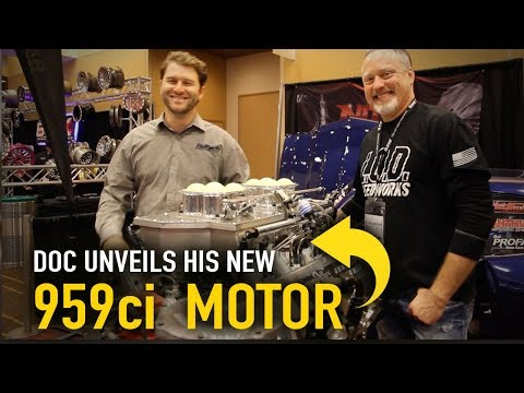 Doc unveils his new 959ci nitrous-fed motor at PRI - YouTube
