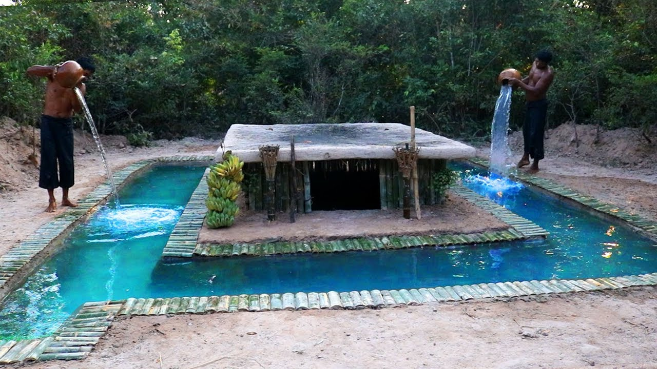 Building Swimming Pool Around Secret Underground House In Deep Jungle