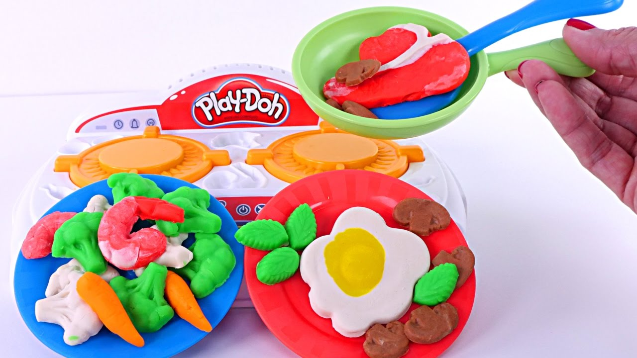 Play Doh Kitchen Creations Sizzlinu0027 Stove Top Playdough Food New 2017 Toys